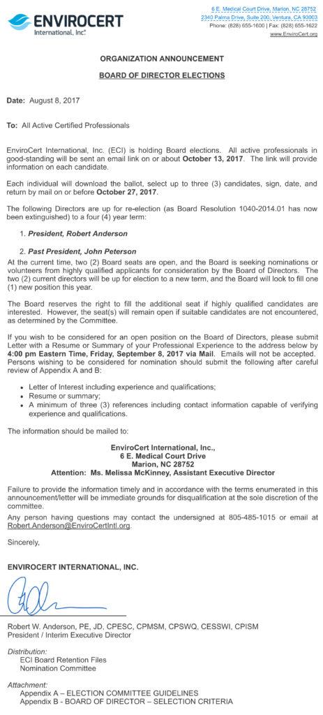 Board Elections - EnviroCert International, Inc